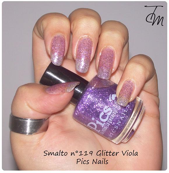 smalto glitter viola n pics nails swatch con boccetta storta