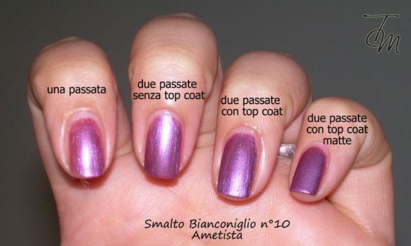 Smalto-bianconiglio-cosmetics-n°10-ametista-swatch-vari-top-coat