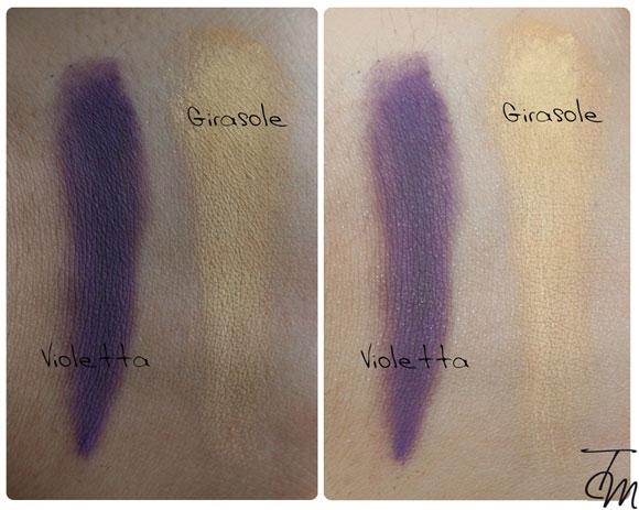 swatches-ombretti-girasole-e-violetta-nevemakeup-collezione-flower-power