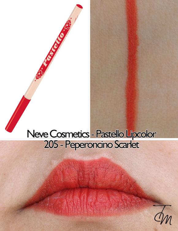 swaches-neve-cosmetics-pastello-lipcolor-matita-labbra-205-peperoncino-scarlet