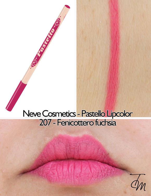 swaches-neve-cosmetics-pastello-lipcolor-matita-labbra-206-fenicottero-fucshia